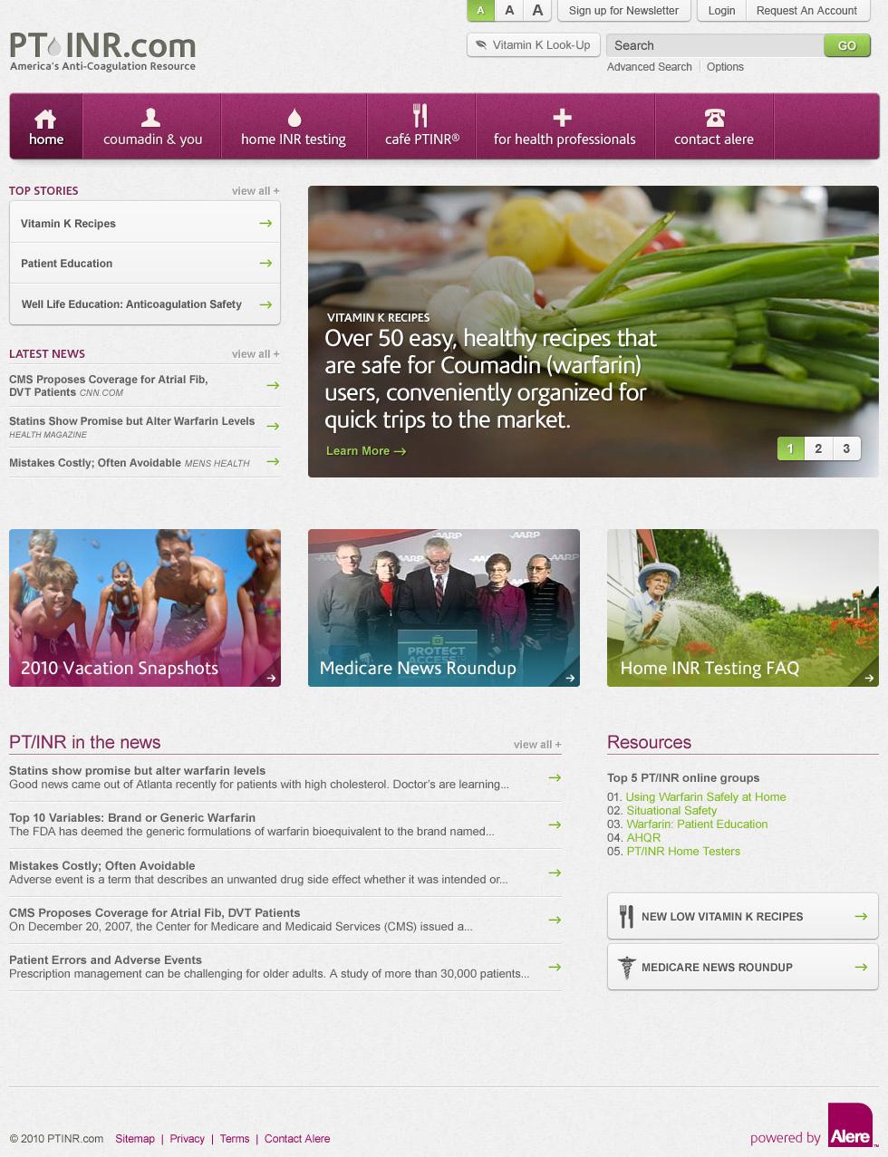 PTINR Website - Homepage