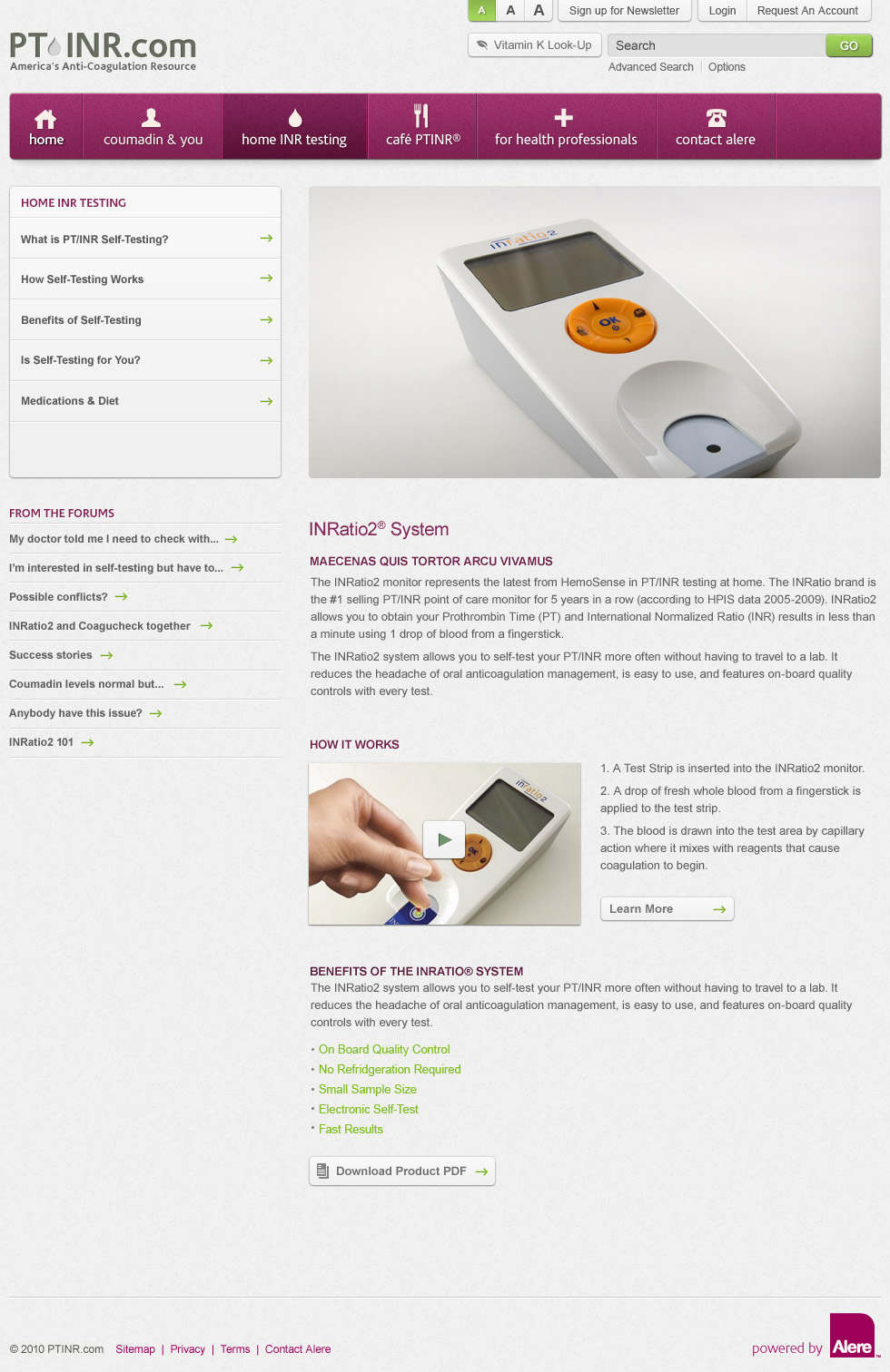 PTINR Website - Home INR Testing
