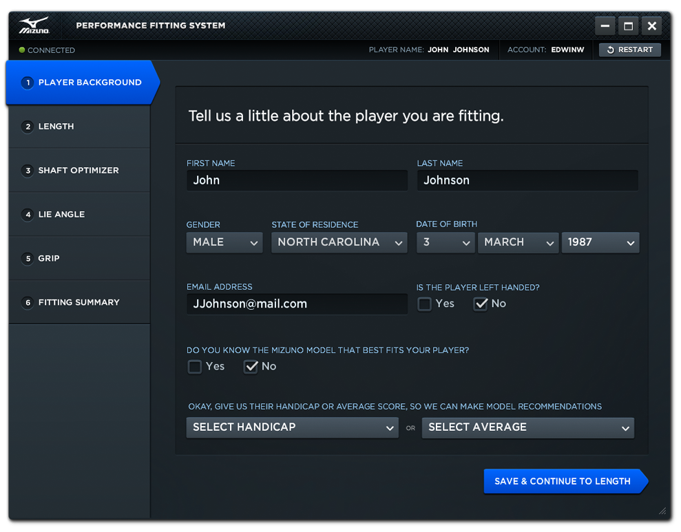 Performance Fitting System - Player Background