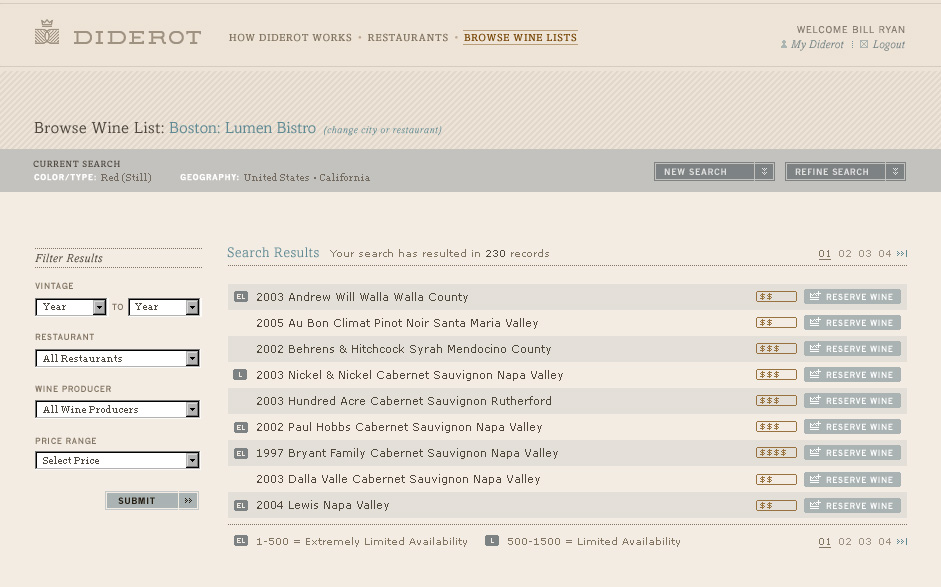 Website - Browse Wine List