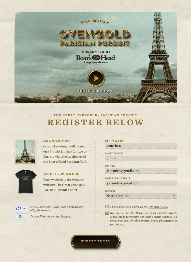 Ovengold Parisian Pursuit - Registration