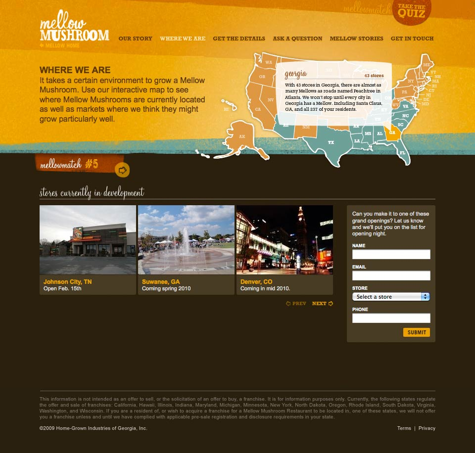 Franchise Website - Where Are We